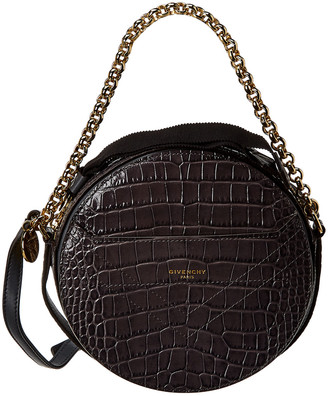 Givenchy Eden Round Croc-Embossed Leather Crossbody