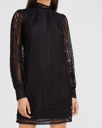 Express Lace Mock Neck Shift Dress