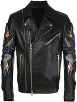 Balmain snake embellished leather jacket