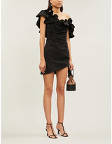 Alexis Benecia one-shoulder ruffled shell mini dress
