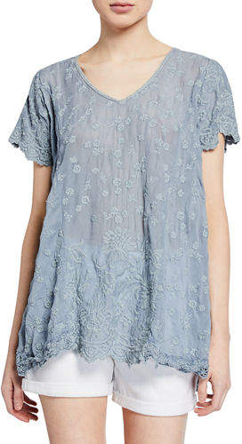 Johnny Was Aubrey Floral-Embroidered Scoop-Neck Georgette Tunic