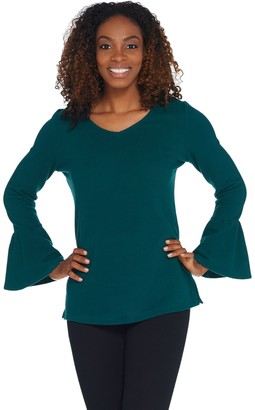 Belle By Kim Gravel Stretch Fleece V-Neck Bell Sleeve Top