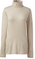 Classic Women's Plus Size Long Sleeve Metallic Print Turtleneck-Oatmeal Heather Metallic