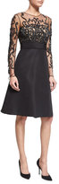 Pamella Roland Long-Sleeve Illusion Filigree-Embroidered Dress, Black