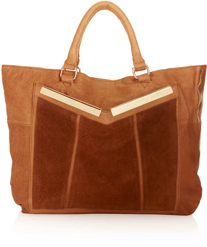 Topshop Patch Bar Panel Leather Tote Bag