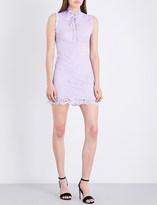 Sandro Frilled-trim high-neck lace dress