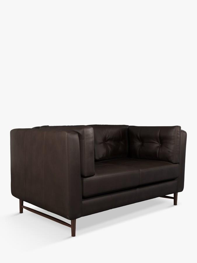 John Lewis & Partners Booth Small 2 Seater Leather Sofa, Dark Leg