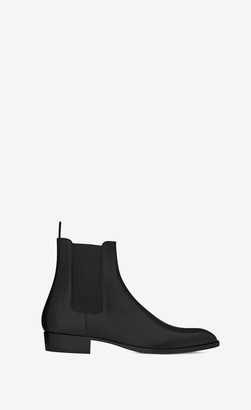 Saint Laurent Wyatt Chelsea Boots In Smooth Leather Black 10