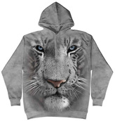 The Mountain Gray & White Tiger Face Hoodie - Unisex