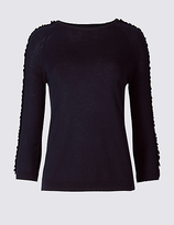 Per Una Lace Applique Round Neck 3/4 Sleeve Jumper
