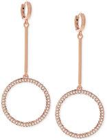 Vince Camuto Rose Gold-Tone Huggy Hoop Pavé Drop Earrings