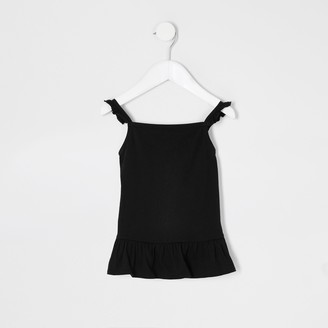 River Island Mini girls Black frill cami top