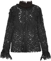 Anna Sui Magical Mystery Ruffled Crocheted Lace And Mesh Blouse - Black