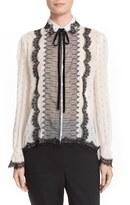The Kooples Women's Silk Blend Seersucker Blouse