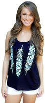Coromose Sexy Halter Vest Female T-shirt Printed With Leaves