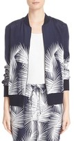 St. John Women's Sport Collection Palm Print Stretch Silk Bomber Jacket