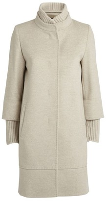 Cinzia Rocca Ribbed-Trim Longline Wool Coat