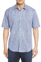 Bugatchi Classic Fit Paisley Print Check Short Sleeve Sport Shirt