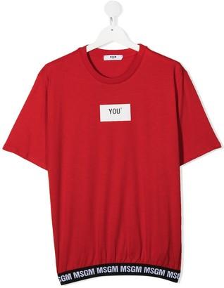 Msgm Kids TEEN logo band cotton T-shirt