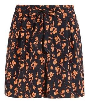 Dorothy Perkins Womens Black And Orange Floral Print Stem Shorts, Black