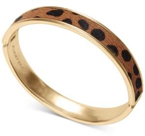 Lucky Brand Gold-Tone Leopard-Print Faux-Fur Inlay Bangle Bracelet