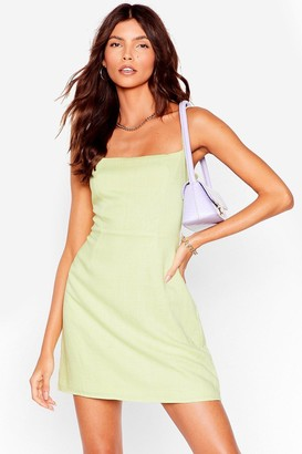 Nasty Gal Womens One Mini Babe Square Linen Dress - Lemon