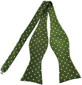 Pense'e Pensee Mens Self Bow Tie Green and White Polka Dot Jacquard Woven Silk Bow Ties