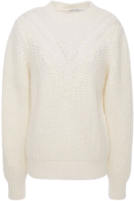 Alberta Ferretti Pointelle-trimmed Ribbed Mohair-blend Sweater