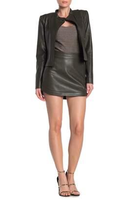 BCBGMAXAZRIA Faux Leather Tulip Mini Skirt