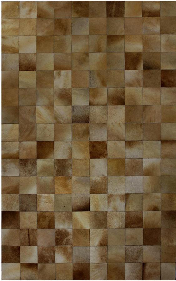 Blocks Cowhide Hand-Stitched Rug