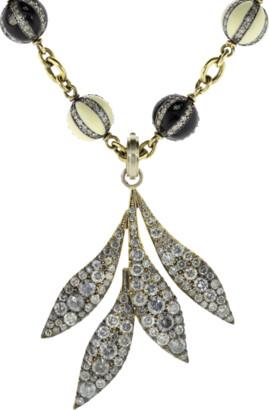 Sylva & Cie Grey Diamond Leaf Pendant