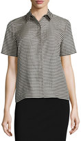 Lafayette 148 New York Maisie Striped Short-Sleeve Blouse, Black/Multi