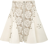 Rodarte Off-White Laser Cut Leather Studded A-Line Skirt