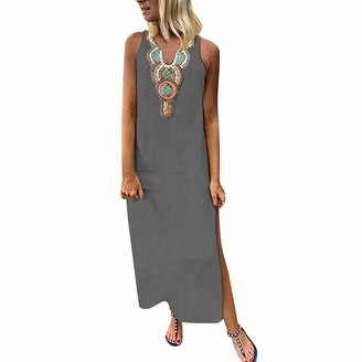 Ulanda Eu Womens Dresses Ulanda-EU Women Plus Size Maxi Dresses Ladies Bohemian Printed Sleeveless V-Neck Linen Dress Baggy Kaftan Split Long Dress Gray