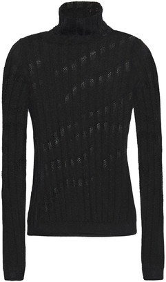 Just Cavalli Pointelle-trimmed Ribbed-knit Turtleneck Top
