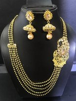Stunning Jewellery Latest Necklace Set Beads Layered Style with Jhumki Style Earring, Light and Comfortable to Wear, Lead & Nickel Free Material Based Metal,Two Colour Tone Available Gold Base with White Reverse American Diamond Stone,Gold Base with Gold Reverse American Diamond StoneAt Wholesale Prices, Canadian Company Canadian Stock
