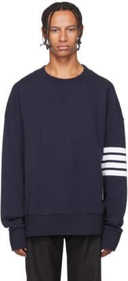 Thom Browne Navy Oversized 4-Bar Classic Sweatshirt