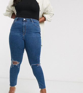 ASOS DESIGN Curve high rise ridley 'skinny' jeans in bright midwash blue with rips and raw hem