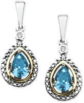 Macy's 14k Gold and Sterling Silver Earrings, Blue Topaz (1 ct. t.w.) and Diamond Accent Teardrop Earrings