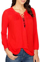 Lucky Brand Fine Patterned Lace-Up Top