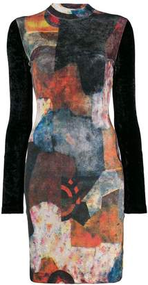 Jean Paul Gaultier Pre Owned 1990's abstract print longsleeved dress
