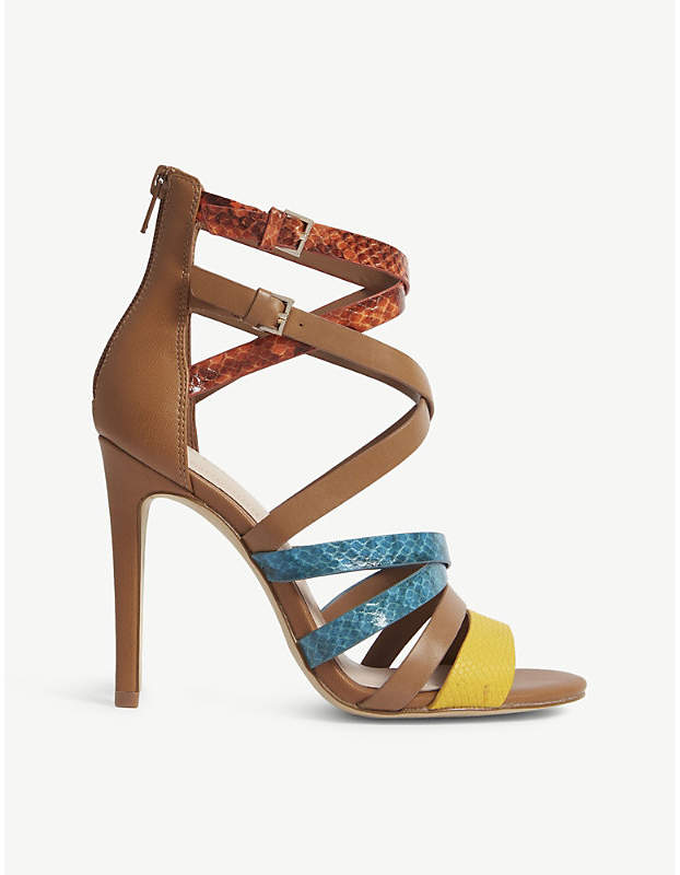 7d618f767ea Valecia snakeskin-embossed faux-leather sandals
