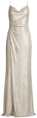 Aidan Mattox Cowlneck Foiled Jersey Gown