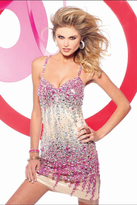 Faviana s7157 Bedazzled V-neck Sheath Dress