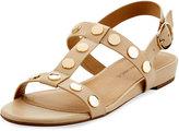 Neiman Marcus Bela Studded Strappy Flat Sandal, Ecru Gold