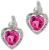 Gem Stone King 1.87 Ct Heart Shape Pink Mystic Topaz White Diamond 18K White Gold Earrings