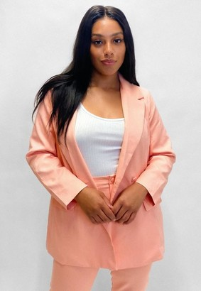 Missguided Plus Size Peach Co Ord Long Blazer