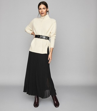 Reiss Bonnie - Wool Cashmere Blend Rollneck Jumper in White