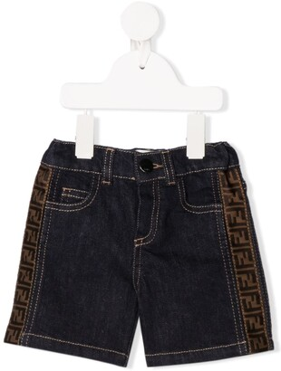 Fendi FF logo denim shorts