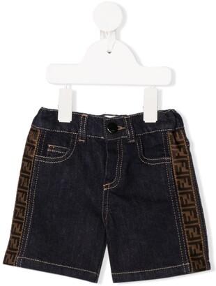Fendi Kids FF logo denim shorts
